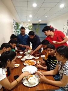 The team having breakfast